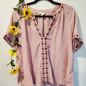 Lucky Brand | embroidered split collar blouse